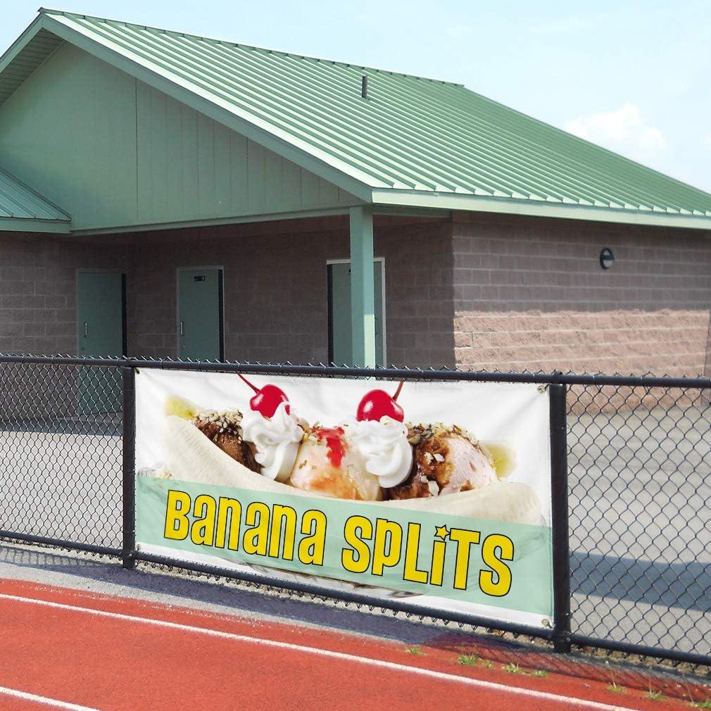 Set of 2 Vinyl Banner Sign Banana Splits #1 Style D Banana Split Marketing Advertising Orange 28inx70in 4 Grommets Multiple Sizes Available