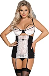ohyeahlady Women Lace Mesh Lingerie Set Plus Size Bra and High-Waisted  Garter Belt Set 25e3d71ef