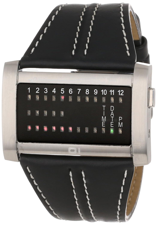 01TheOne MÄnner IRH102RB1 Ibiza Ride breites Rechteck Schwarz Leder Uhr