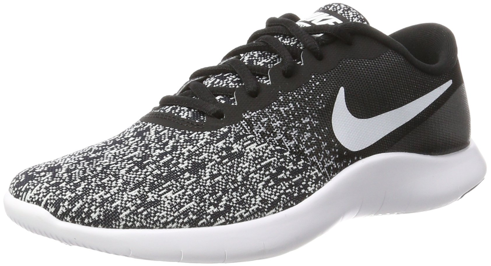 NIKE Men's Flex Contact Running Shoe, Black White 14