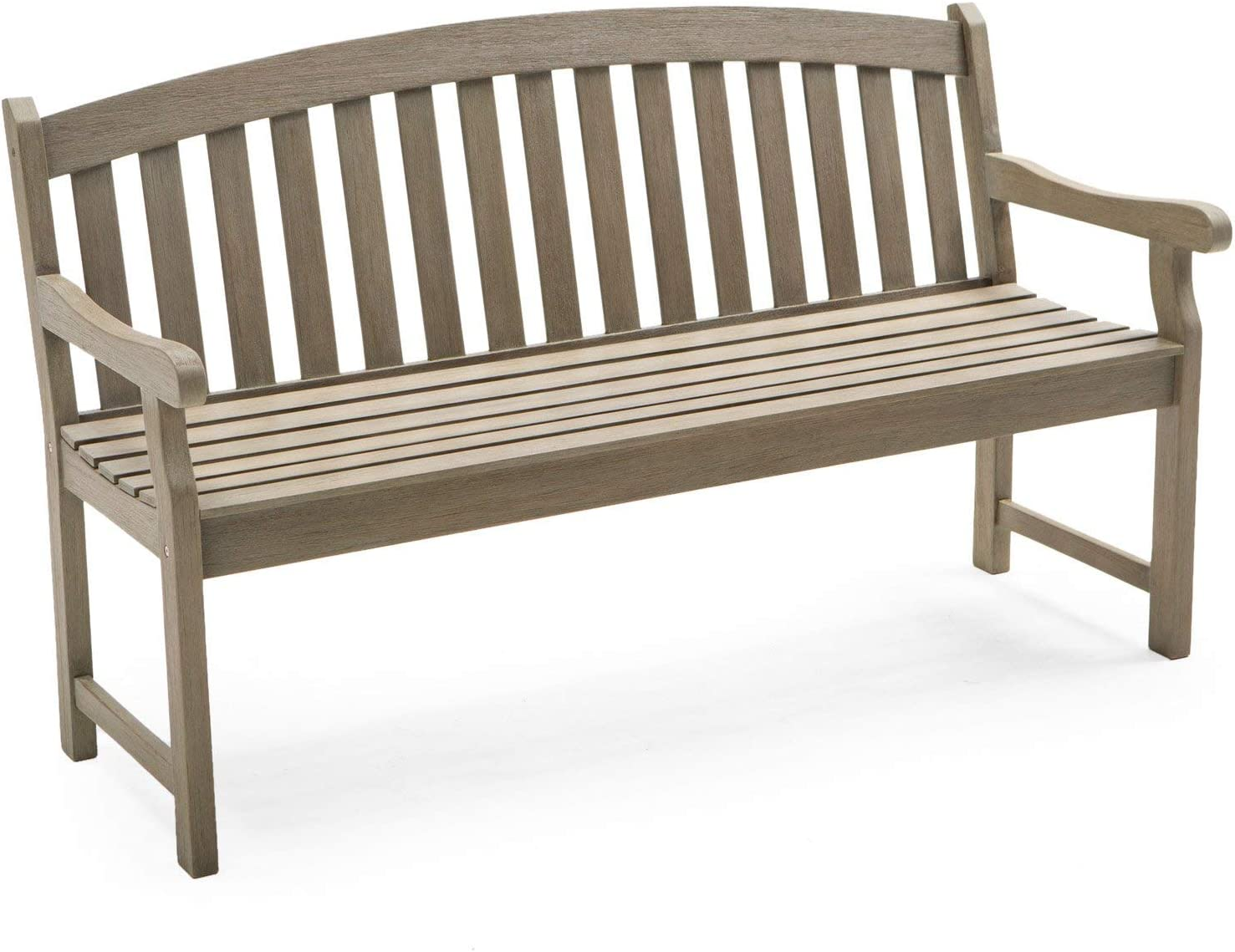 Coral Coast Amherst Curved Back 5 ft. Outdoor Wood Garden Bench Driftwood