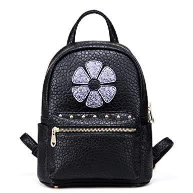Sequin Floral Mini Backpack Purse for Women Cute Small Fashion Glitter  Leather Convertible Rivets Backpacks Purses 502151eee609d
