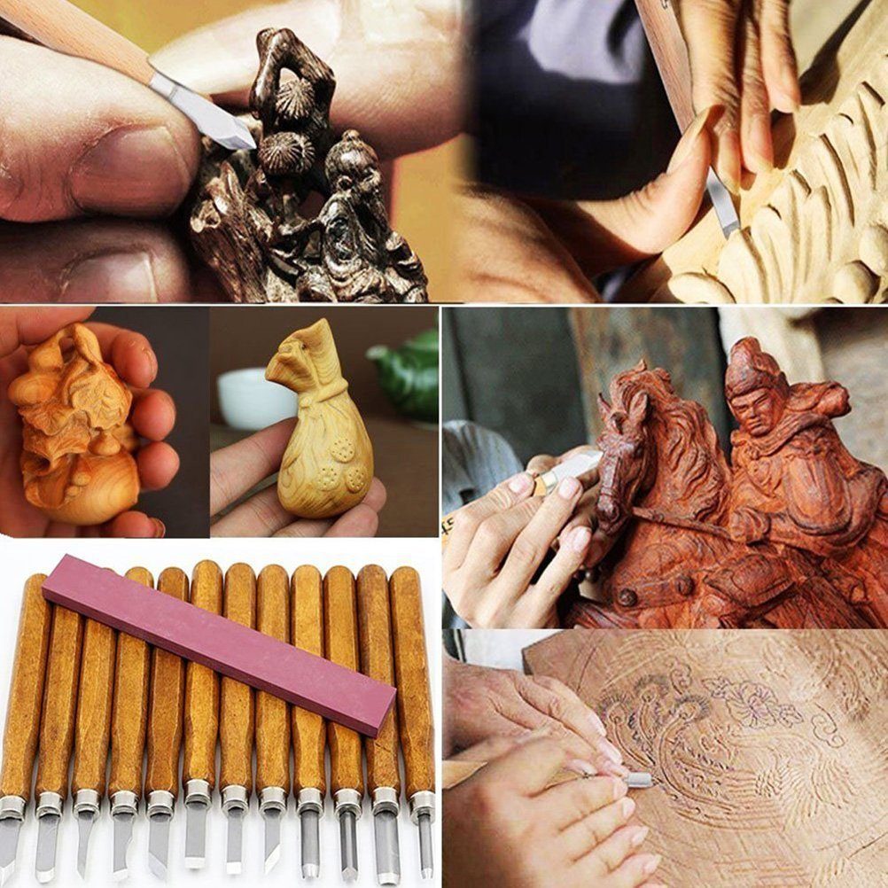 Paracity scalpelli per legno Set 12/pezzi in lega di acciaio Sharp Woodworking Tools con custodia da trasporto/ /ideale per DIY Art Craft argilla carpenteria principianti amatoriali