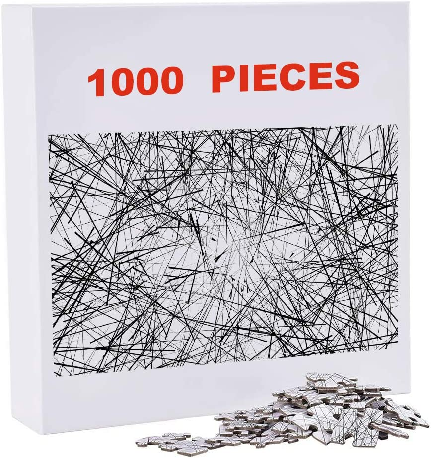 Type B MAXROCK Puzzle-The Lines 1000 Pieces Black and White Simple Fashion Challenge Blue Board Difficult Jigsaw Puzzles for Adults
