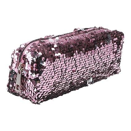 Manyo Estuches - Bolso cosmético del maquillaje del brillo de lujo de la lentejuela, caja de lápiz brillante de Bling, cremallera, efectos de ...