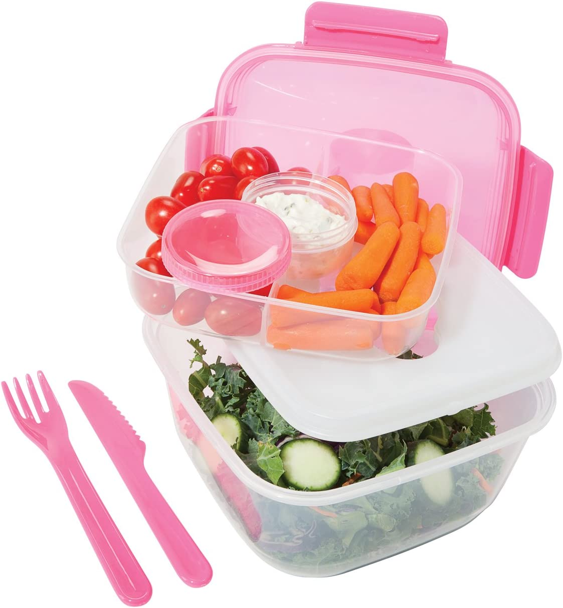 Oggi Chill To Go Food Container Lunchbox Set- Includes Knife, Fork, Tray, Dressing Container, Bottom Container, and Removable Freezer Pack-Pink