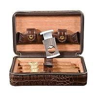 Volenx Travel Cigar Case, Travel Humidor  Crocodile Leather Case for 4 Cigars
