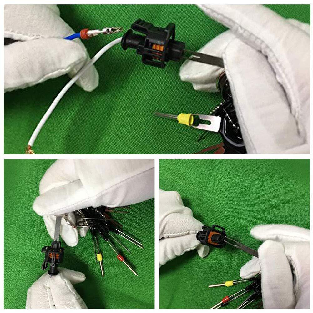retractor de agujas 21 piezas arneses retractor de agujas terminales de ganz/úas Herramienta de extracci/ón de terminales de enchufe de coche