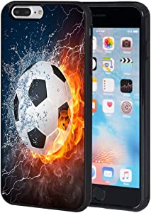 iPhone 7 Plus Case,AIRWEE Slim Anti-Scratch Shockproof Silicone TPU Back Protective Cover Case for iPhone 7 Plus 5.5 Inch,Water Fire Soccer Ball