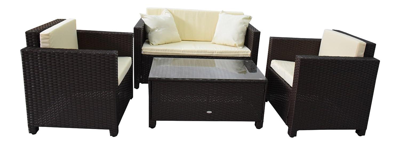 Amazon.de: Gartenmöbel Garten Lounge Sitzgruppe Rattan Cannes brown