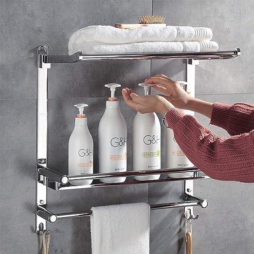 Size : 40cm rails de support de serviette muraux pliables sur 3 niveaux avec crochets 6.7 Porte-serviettes en acier inoxydable pour tablette de salle de bains avec porte-serviettes multiples