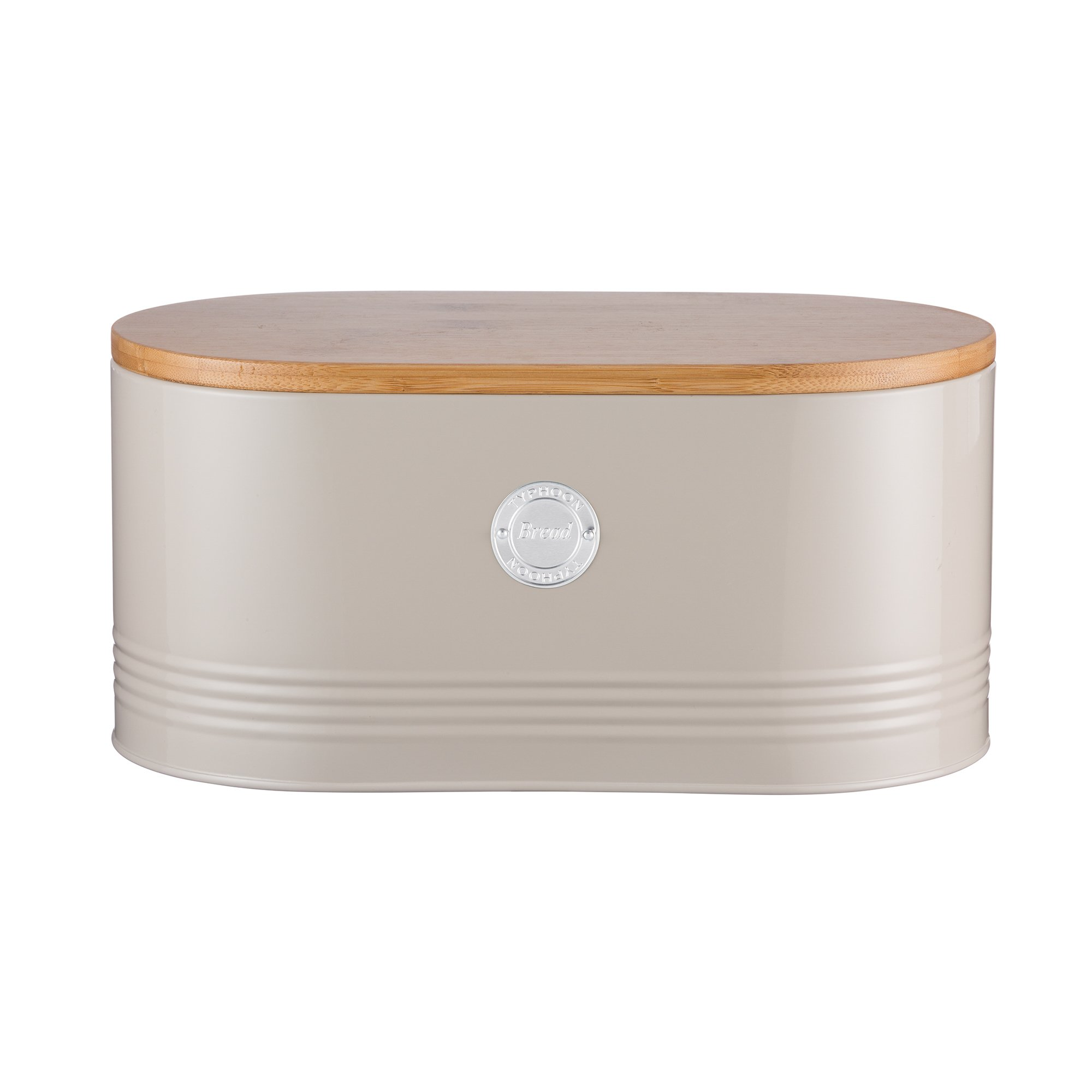Typhoon Living Carbon Steel Bread Bin with Bamboo Lid, 13-Inches by 7-Inches by 6-1/4-Inches, Putty