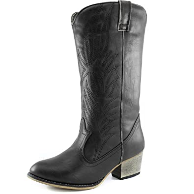 9cf4a6b64 Women's DailyShoes Embroidered Legend Western Cowboy Knee High Boot, Black  Pu, 5.5 B(
