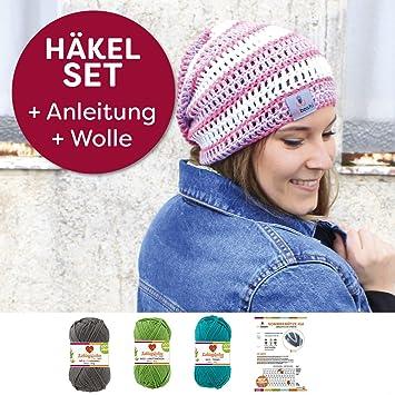 Schwarz Limettengrün Türkis Mützen-Häkelset Anleitung Nadel Label Wolle