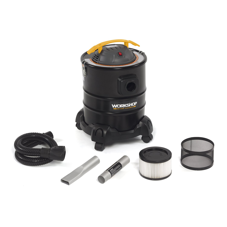 WORKSHOP Ash Vacuum Cleaner WS0500ASH, 5-Gallon Ash Vac For Fireplaces, Stoves, BBQ Pits; 3.0 Peak Horsepower Ash Vacuum