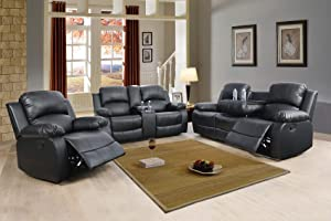 Combination Sofa Living Room Office Sofa Set Drop-Down Table Leather Recliner Sofa