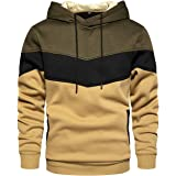 Gesean Men's Novelty Color Block Pullover Fleece Hoodie Long Sleeve Casual Sweatshirt with Pocket