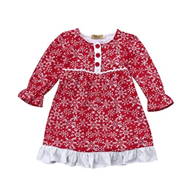 Robe de Noël de fille, Tpulling Enfants Bébé Filles Santa Snow Princess Noël Vêtements Robe