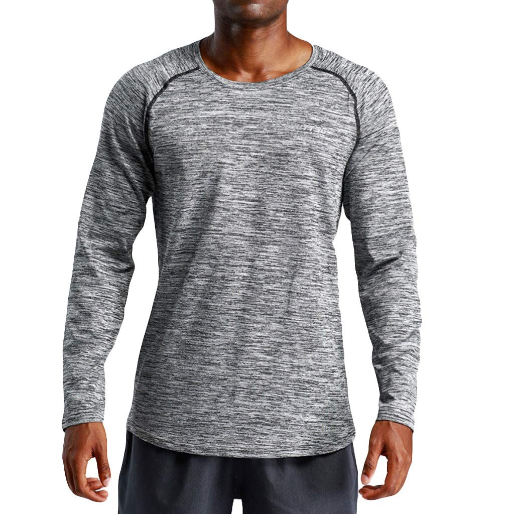 Pervobs Men's Stretchy Long Sleeve Fitness Training T-Shirt Outdoor Sports Blouse Top(2XL, Dark Gray) by Pervobs Mens T-Shirts (Image #2)