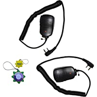 HQRP 2-Pack 2 Pin PTT Mini Speaker Mic for Feidaxin FD-A380, FD-55, FD-56, FD58, FD-68, FD-98, FD-278, FD-288, FD-289 + HQRP UV Meter