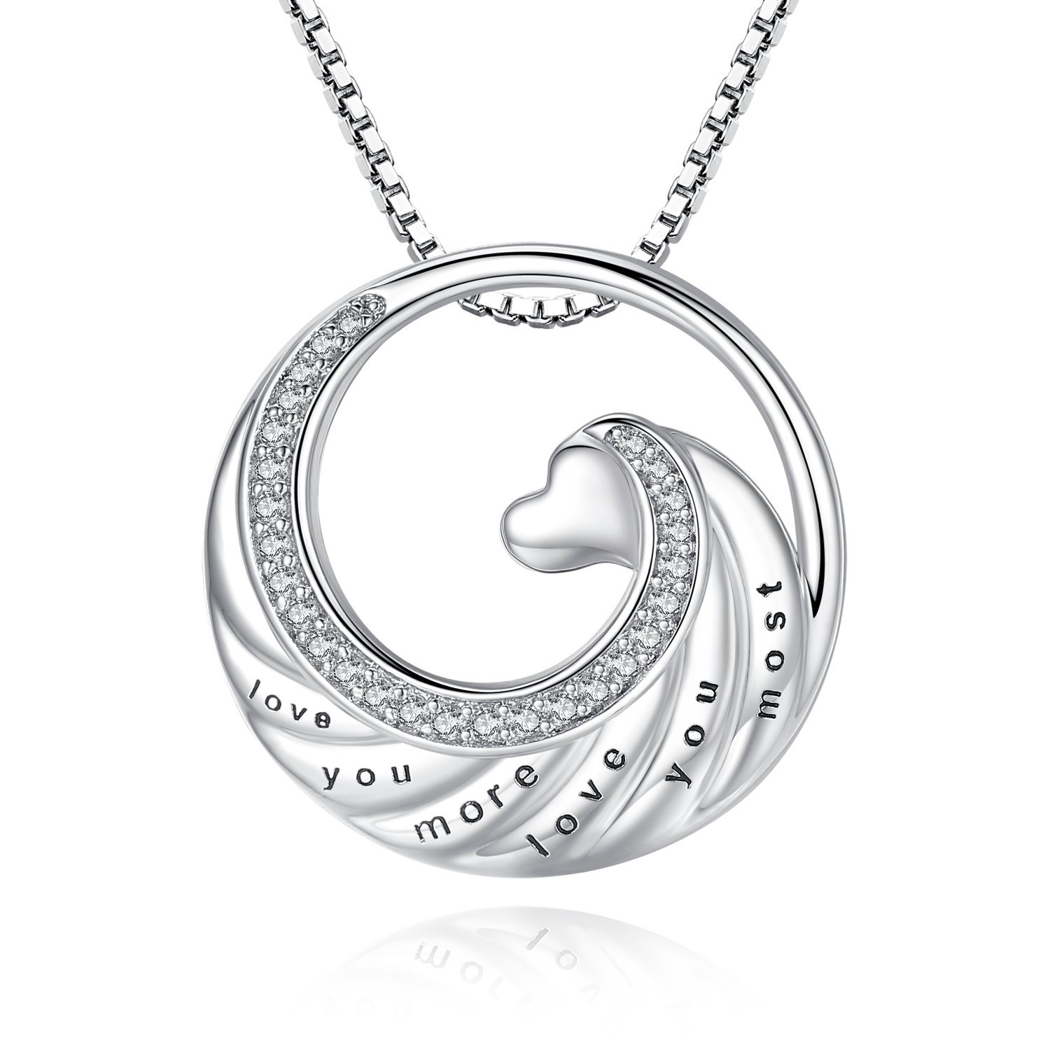 Usview 'I Love You More I Love You Most' Heart Pendant Necklace, Gifts For Her, Girlfriend, Wife, Lover, 18'' (Love-you-more-most)