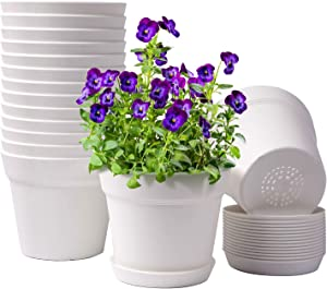 HOMENOTE Pots for Plants, 15 Pack 6 inch Plastic Planters with Multiple Drainage Holes and Tray - Plant Pots for All Home Garden Flowers Succulents, Cream White