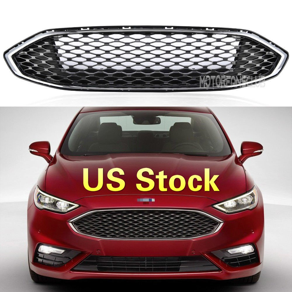 MotorFansClub Front Grille Bumper Honeycomb Paint Gloss Black Mesh Upper Grill for Ford Fusion 16-17