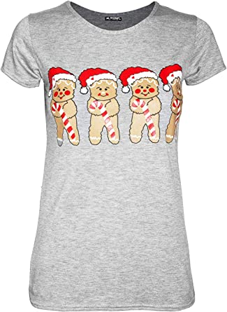 Womens Ladies Turn Up Sleeve Snowflakes Elf Candystick Christmas Baggy T Shirt