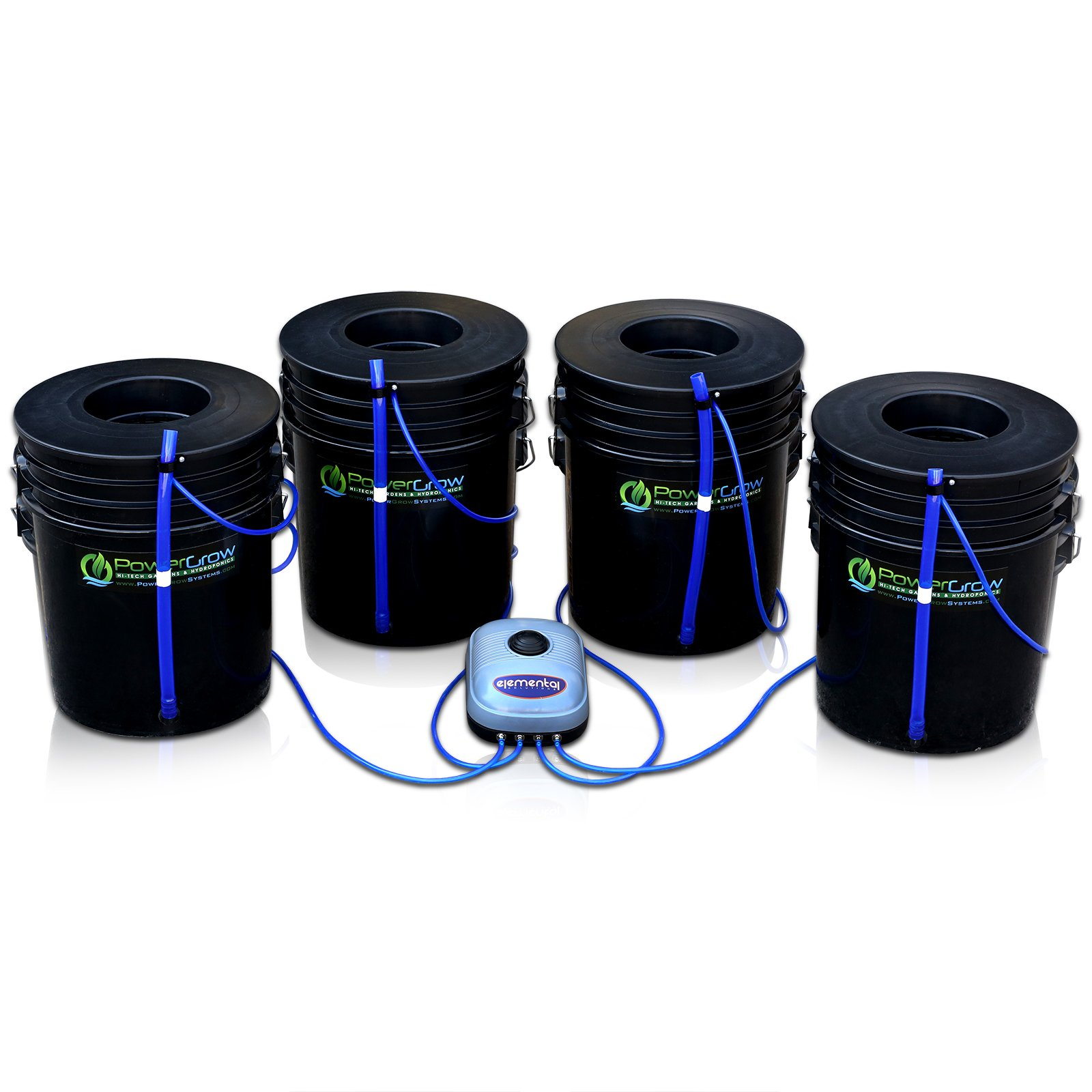 Deep Water Culture (DWC) Hydroponic Bubbler Bucket Kit by PowerGrow Systems (4) 5 Gallon - 6'' Buckets by PowerGrow Hydroponic Systems