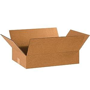 "BOX USA B20124 Flat Corrugated Boxes, 20""L x 12""W x 4""H, Kraft (Pack of 25)"