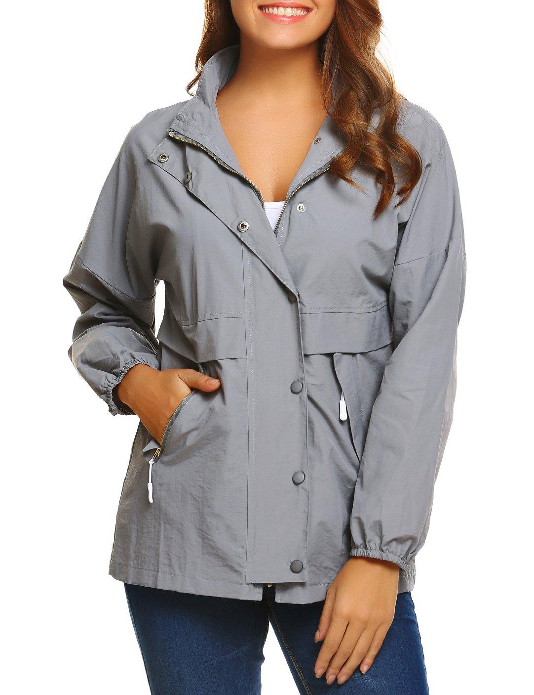 SE MIU Women's Lightweight Waterproof Raincoat With Pocket Outdoor Rain Jacket (Grey, XL)