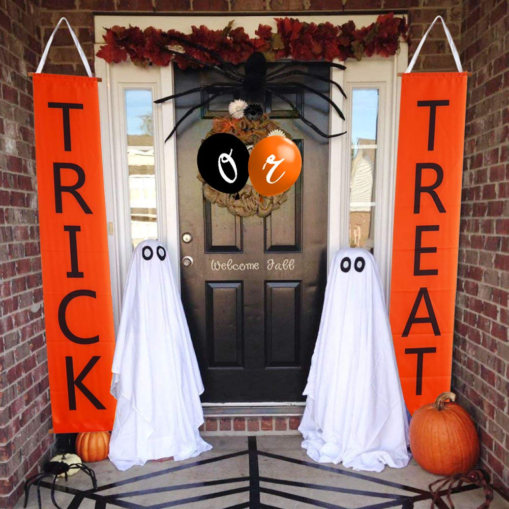 Join2Top Trick or Treat Banner and Balloons, Halloween Decorations for Door/Fireplace, Ready to Welcome Kids by Join2Top (Image #1)