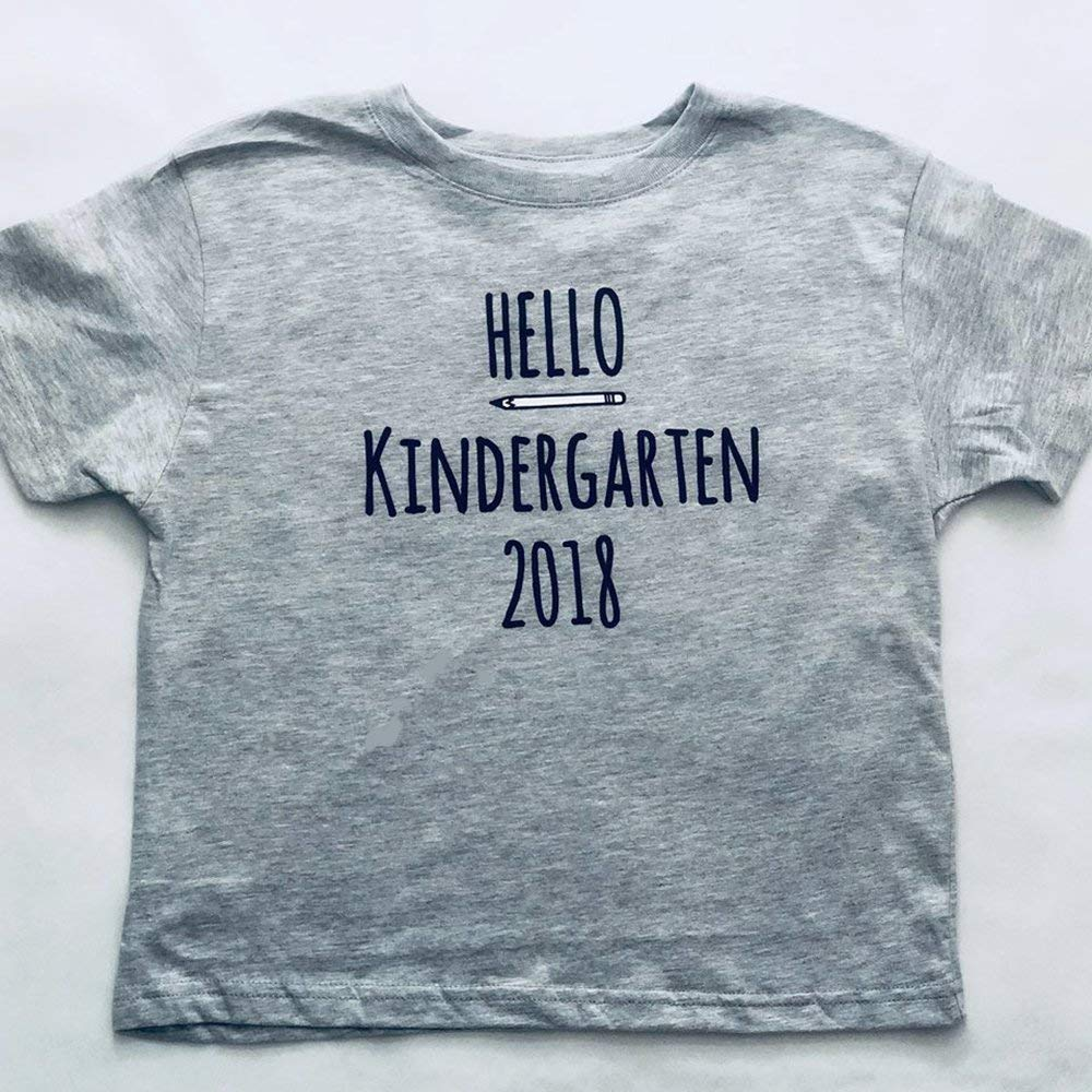 Hello Kindergarten 2018, First Day of School Tshirt for Kids, Short Sleeve, Grey, Size 5/6