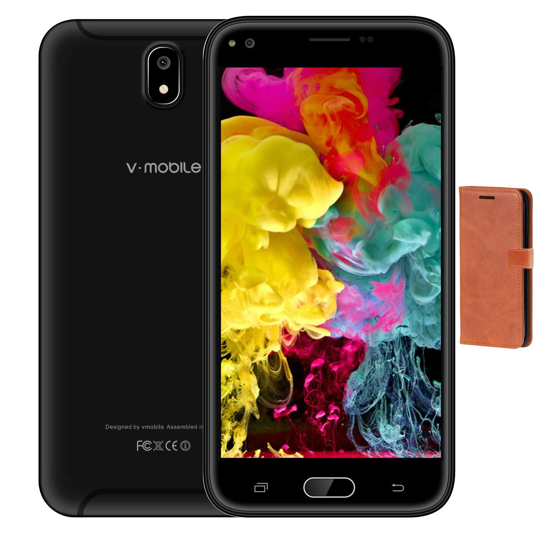 Móviles Baratos,5.5 Pulgadas 3GB RAM 32GB ROM 8MP Cámara Trasera 5MP Camara Frontal 1440*720 Pixeles Batería de 2800mAh Dual Sim Android 7.0 3G+ Smartphone V Mobile J5 2017(Negro+Funda de Cuero)
