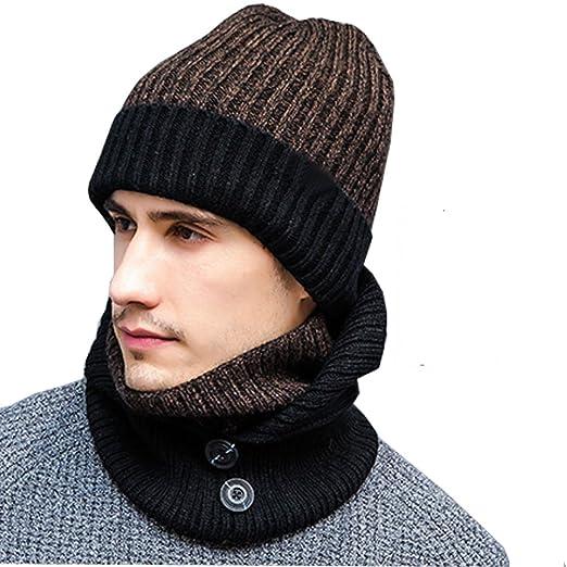 Maleroads Mens Beanie Scarf Gloves Set Knit Winter Fleece Lining Hat Neck  Gaiter Touchscreen Mittens ( fff0614f6b3