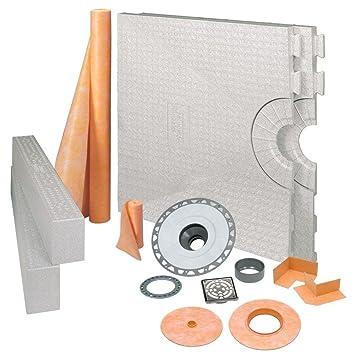Schluter Kerdi 32 Inch X 60 Inch Shower Kit With Center Stainless Steel PVC