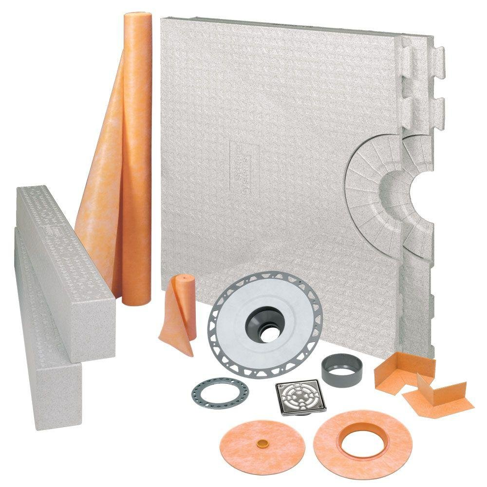 Schluter Kerdi 32-Inch X 60-Inch Shower Kit with Center Stainless Steel PVC Drain