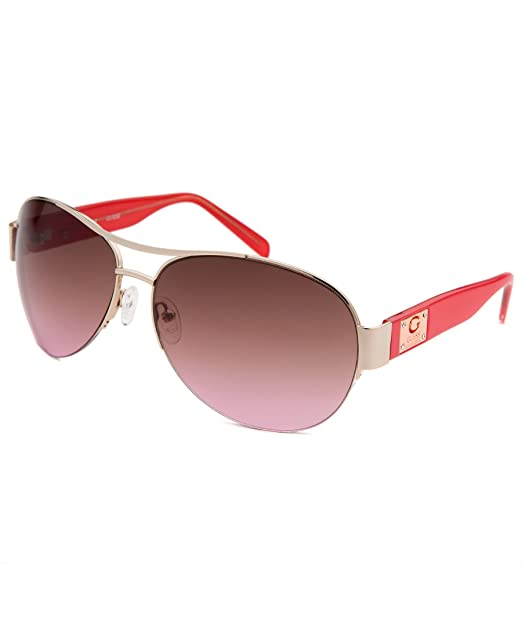 4f8cebbe56 Image Unavailable. Image not available for. Color  Guess GUF 215 GLD-52  Women s Gold Pink Frame Aviator Sunglasses