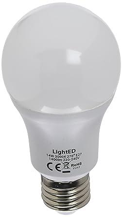 LightED Bombilla LED, 3000 K E27, 14 W, Blanco 60 x 120 mm