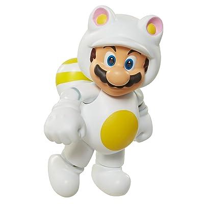 """World of Nintendo 91449 4"""" White Tanooki Mario Action Figure: Toys & Games"""