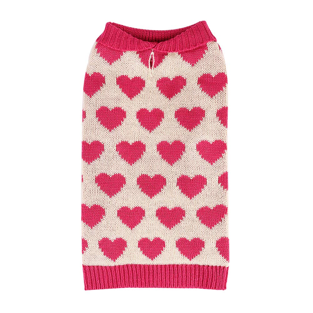 Heart 12\ Heart 12\ PETCEE Heart Pattern Dog Sweater,Easily On and Off.Well Keep Your Pup Defence Snowing Day Even Outdoor.(Pink,M)