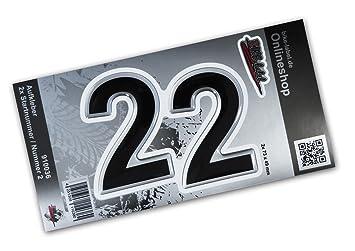 Startnummer Aufkleber 3d 910036 2x Nummer 2 Set Silber