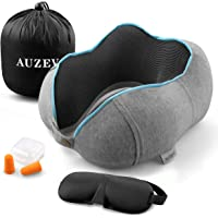 Auzev Travel Neck Pillow Comfortable Head Support Cotton Cushion with Storage Case,Eye Mask and Ear Plugs (Multiple Color)