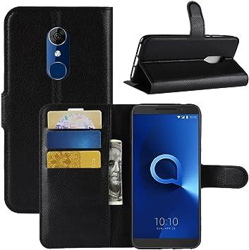 HualuBro Funda Alcatel 3, Premium PU Cuero Leather Billetera Wallet Carcasa Flip Case Cover para Alcatel 3 Smartphone (Negro): Amazon.es: Electrónica