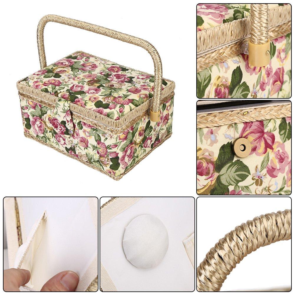 Rosa HEEPDD Cesta de Costura Vintage Herramienta de Costura para Manualidades 3 Colores Cesta de Hilo de Aguja 24.5x18x13.5 CM Caja de Almacenamiento de Tela para el hogar
