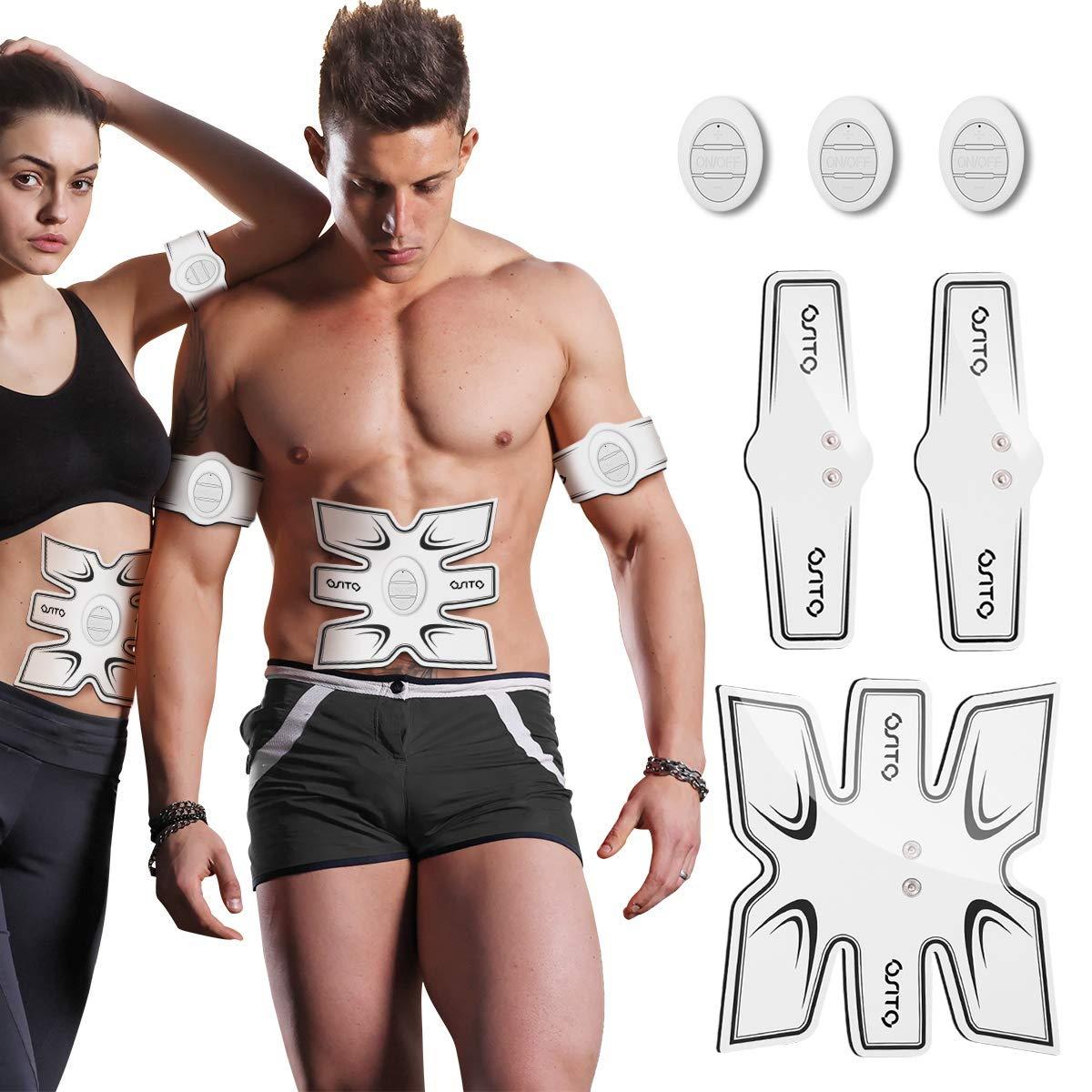 OSITO Abs Stimulator Muscle Toner Abdominal Muscle Training Gear Portable Rechargeable EMS Ab Stimulators