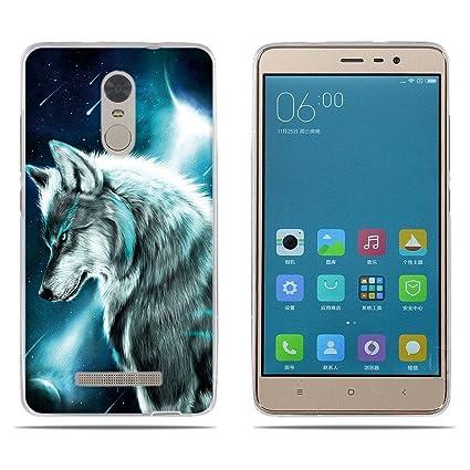 FUBAODA Funda Xiaomi Redmi Note 3 Carcasa de Silicona Transparente TPU, 3D Relear, Cool Dibujo de Lobo de Hielo, Flexible Amortigua los Golpes, Funda ...