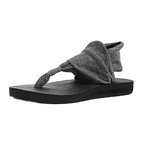 f7188443ed8 Womens Sandals Flat Flip Flops with Sling Back Thongs Post Toe Summer Shoes  with Elastic Ankle