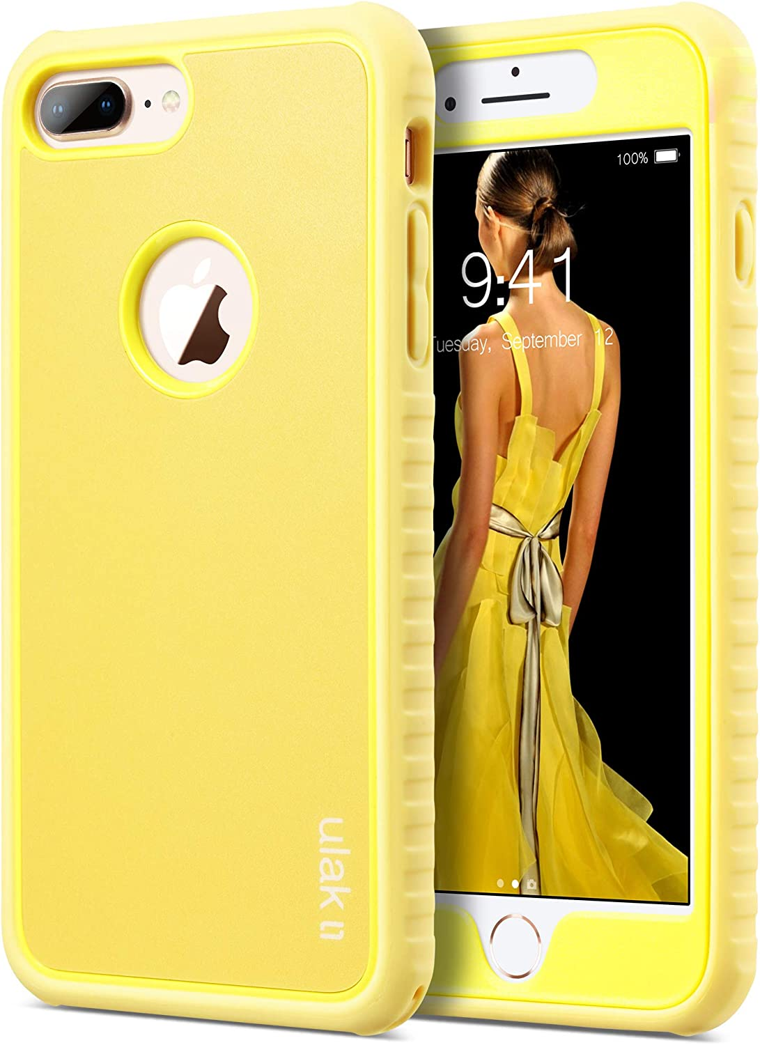 ULAK iPhone 8 Plus Case, Heavy Duty Shockproof TPU Bumper Case Durable Anti-Slip Lightweight Front and Back Hard Protective Cover for iPhone 8 Plus 5.5 inch Larger Screen Size,Yellow