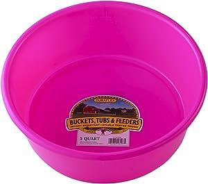 Little Giant Plastic Utility Pan (Hot Pink) Durable & Versatile Short Livestock Feeding Bucket (5 Quart) (Item No. P5HOTPINK)
